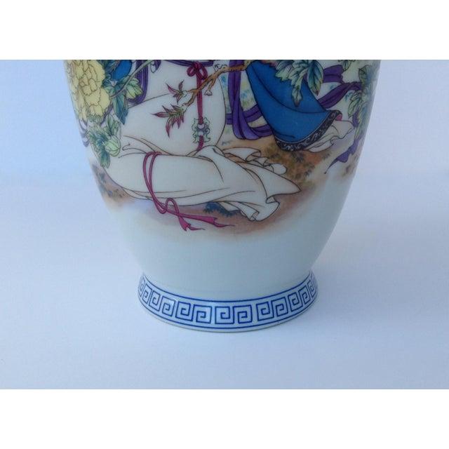 Vintage Japanese Porcelain Kutani Ceremonial Greek Key Vessel, Vase For Sale - Image 9 of 11