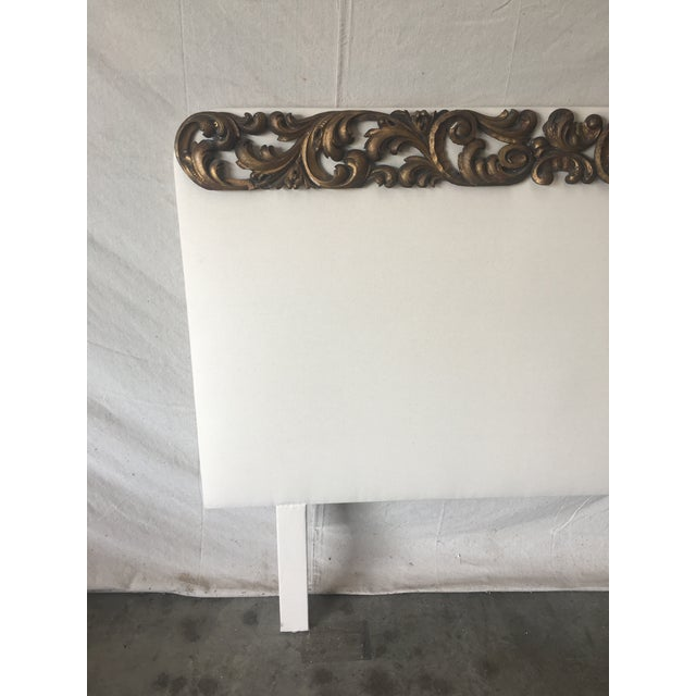 Beautiful upholstered headboard, with 19th C fragment accent. This lovely headboard has been newly reupholstered in a...