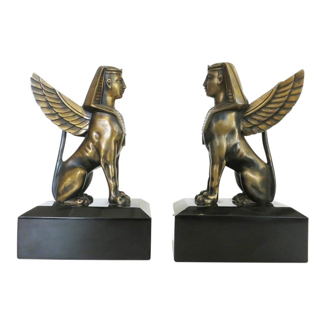 Egyptian Style Bronze Sphinx Griffin Bookends For Sale