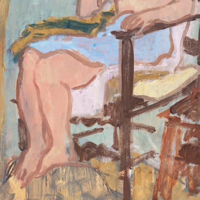 Paper Vintage Mid-Century Victor DI Gesu Oil Painting For Sale - Image 7 of 10