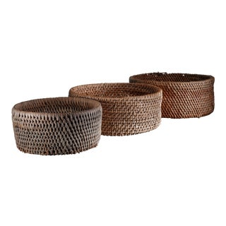 Set of three folk art baskets, Sweden