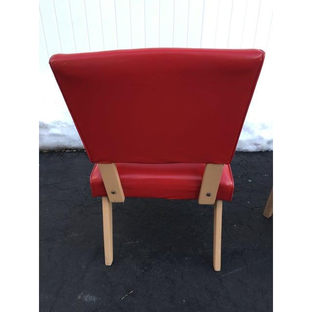 Mid Century Viking Artline Red Vinyl Slipper Chairs A