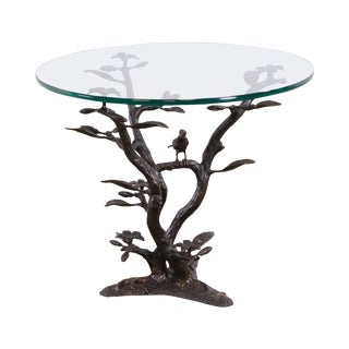 Bronze Base Round Glass Top Side Table of Bird in Tree After Giacometti For Sale