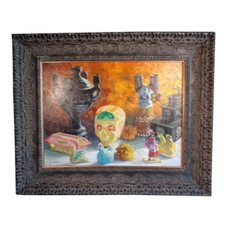 Late 20th Century Still Life with Sugar Skull Oil Painting by Alfonso Tirado, Framed For Sale