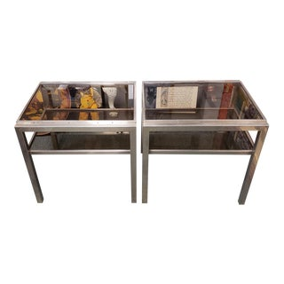 1970's French Mid Century Modern Chrome/Smoked Glass Two Tier End Tables - a Pair For Sale