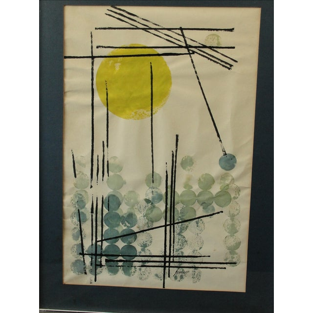 Vintage Abstract Expressionist Monoprint - Image 3 of 7