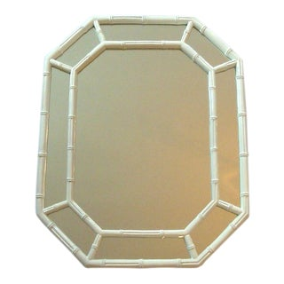 Vintage Faux Bamboo White Chinoiserie Octagon Mirror