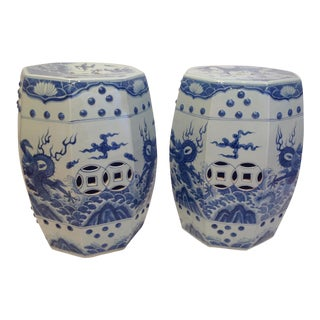 Pair of Blue and White Garden Seats Dragon Motif For Sale