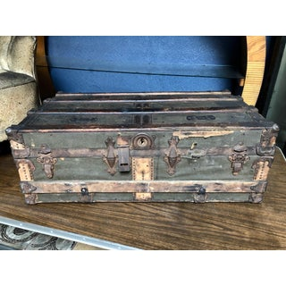 Vintage P & S Co. Wood Leather and Metal Trunk Preview
