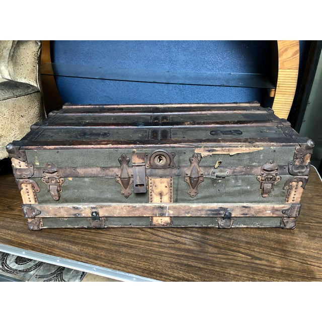 Question: Looking for a piece that can multi-task? Answer: One Well-Worn, Patina-Rich, Shelf-Inside, Handsome Trunk Woop...