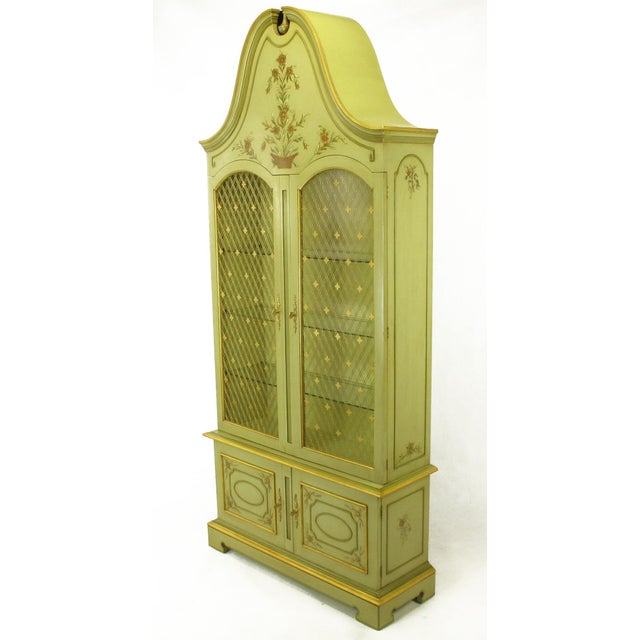 French Pair of John Widdicomb Glazed Light Green Tall French Regency Display Cabinets For Sale - Image 3 of 11