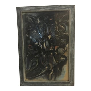 Vintage Abstract Pastel Under Glass For Sale