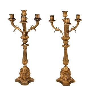 Antique Bronze Empire Candelabra - a Pair For Sale