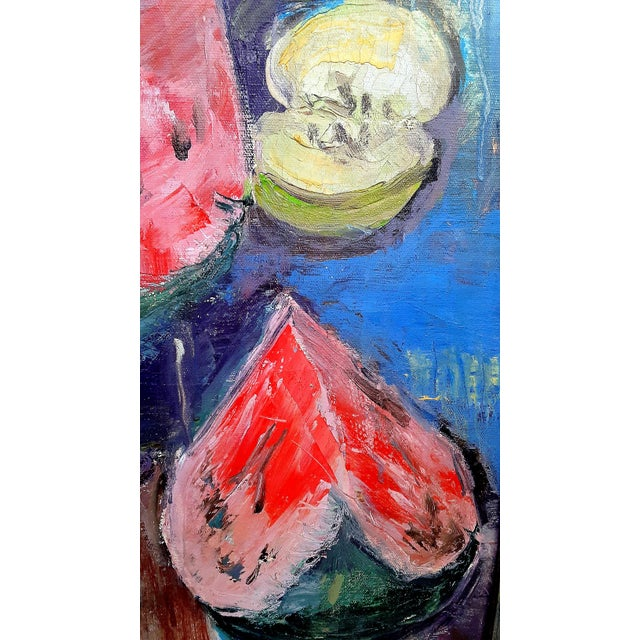 """1960s Mid Century Abstract Still Life """"Table With Fruit"""" Oil Painting For Sale - Image 5 of 13"""