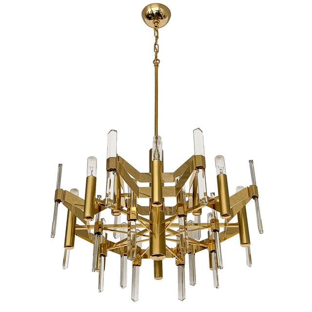 Gold-Plated Brass and Crystal Chandelier by Gaetano Sciolari For Sale - Image 12 of 12