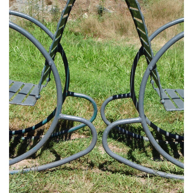 Art Deco Patio Metal Hoop Rocking Chairs - A Pair - Image 6 of 10