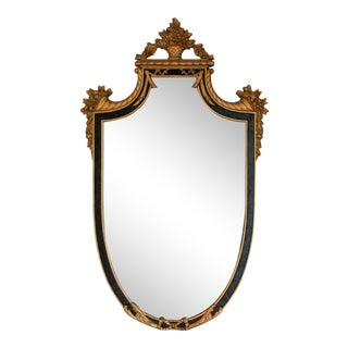Black and Gold Ornate Vintage Shield Form Mirror For Sale