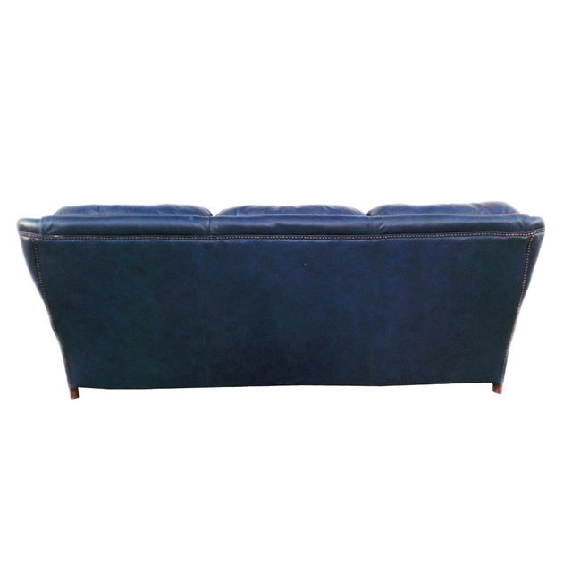 Vintage Tufted Blue Leather Chesterfield Sofa - Image 2 of 7