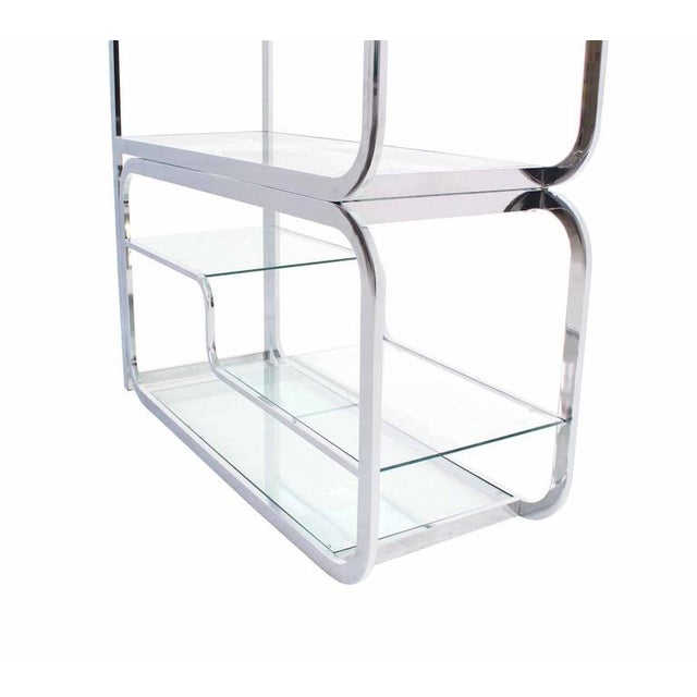 "Swivel Base Chrome and Glass ""Expandable"" Étagère For Sale - Image 4 of 8"