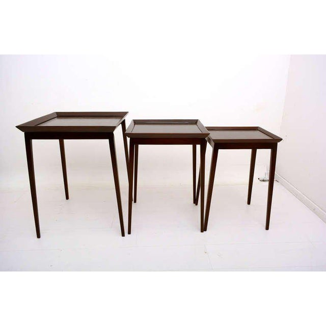 """For your consideration a set of nesting tables by Widdicomb. Measures: Large table: 26 1/4"""" H x 20"""" x 20, medium table: 24..."""