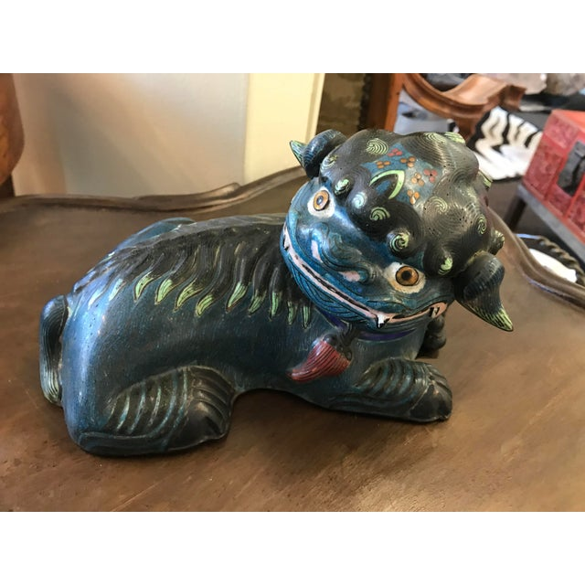 A deep green Chinese cloisonné foo dog. Add some whimsy with this one, what's not to love about that face. Circa late 19th...