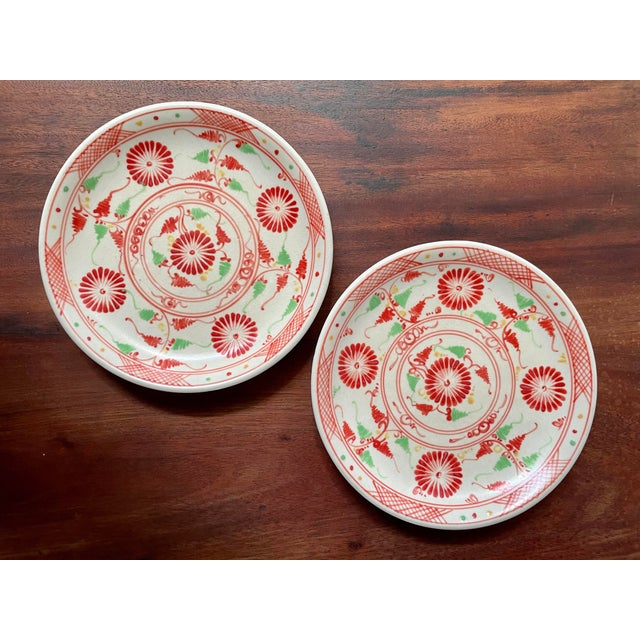 Red Vintage Red Flower Folk Art Plates- a Pair For Sale - Image 8 of 8