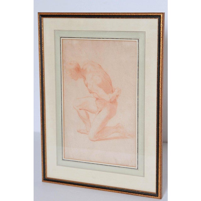 Red 19th Century Continental Red Chalk Drawing, Figure Study For Sale - Image 8 of 12