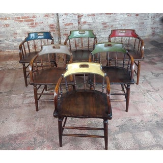 1900s Antique Captain Old West Gambling Arm Chairs -Set of 6 Preview