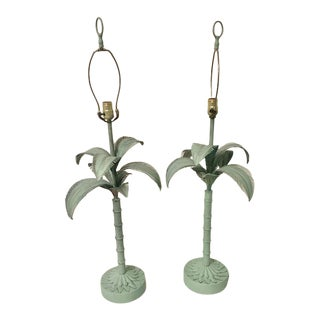 1970s Tole Palm Tree Lamps With Matching Finials - a Pair For Sale