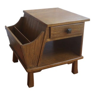 Rancho Monterey Rustic End Table With Magazine Rack and Drawer For Sale