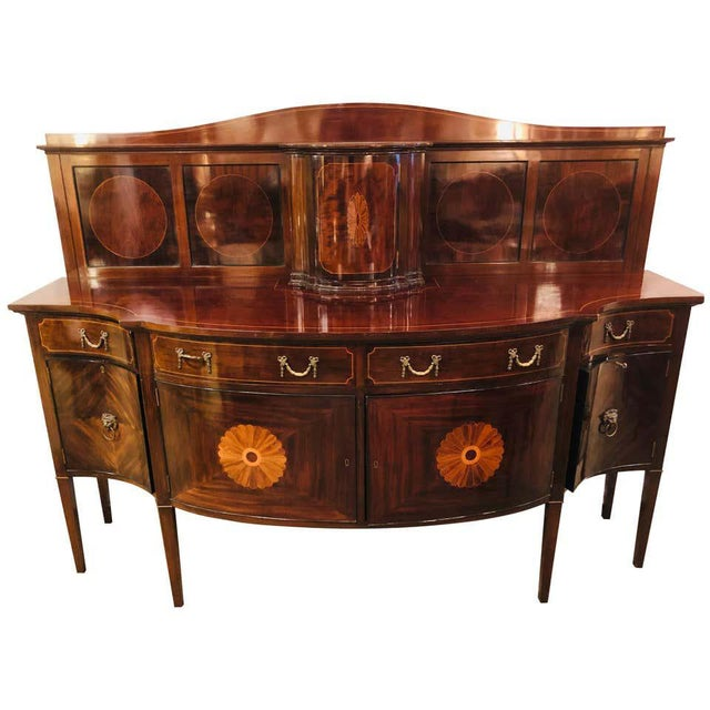 Sheraton Flame Mahogany 19th Century Sideboard Buffet With Inlaid Backsplash Top For Sale - Image 13 of 13