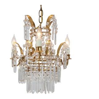 Italian Vintage Crown Shaped Crystal Beaded Chandelier For Sale