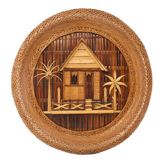 Vintage Tropical Cottage Wicker Textile Wall Art For Sale