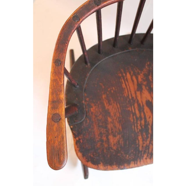 Wood Rare 18th Century Low Back Original Red Painted Windsor Rocking Chair For Sale - Image 7 of 10