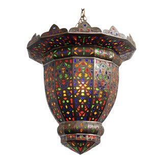 Moroccan Brass & Colored Glass Lantern For Sale