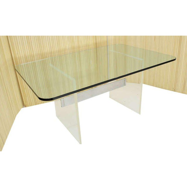 Mid Century Modern 3/4 Thick Glass Top Lucite Base Conference Dining Table For Sale - Image 9 of 9