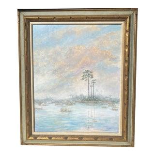 Florida Everglades Acrilic Painting in Pastels Tones. For Sale