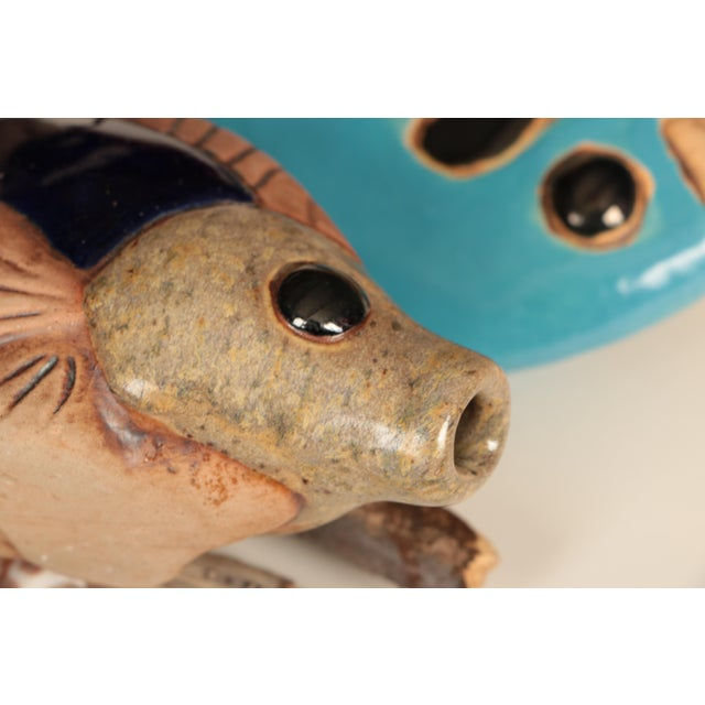 Late 20th Century Hazel Olsen Driftwood and Pottery Fish Windchime For Sale - Image 5 of 6
