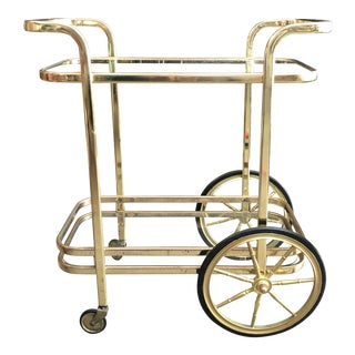 Mid Century Brass Bar Cart For Sale