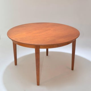 Henning Kjaernulf Teak Round Table With One Leaf Preview