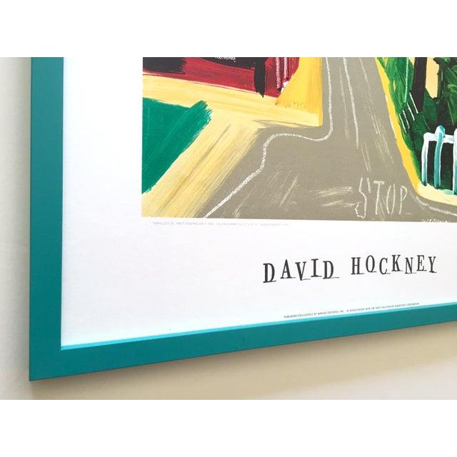 "David Hockney Rare Vintage 1989 Lithograph Print Framed Collector's Pop Art Poster "" Hancock St. West Hollywood 1 "" For Sale In Kansas City - Image 6 of 13"
