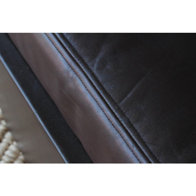 Black Pair of Leather Wrapped Ottomans, 1970s For Sale - Image 8 of 10