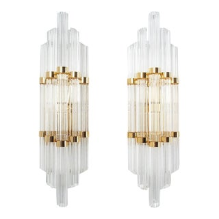 Large Venini Style Murano Glass and Brass Wall Lamps Sconces, 1970 For Sale