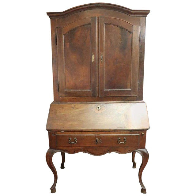 18th Century Italian Antique Louis XV Walnut Carved Trumeau, Secretaire For Sale