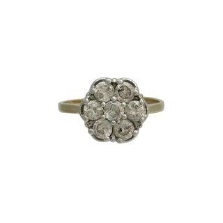 Vintage 14k Gold, Platinum & Diamond Cluster Ring For Sale