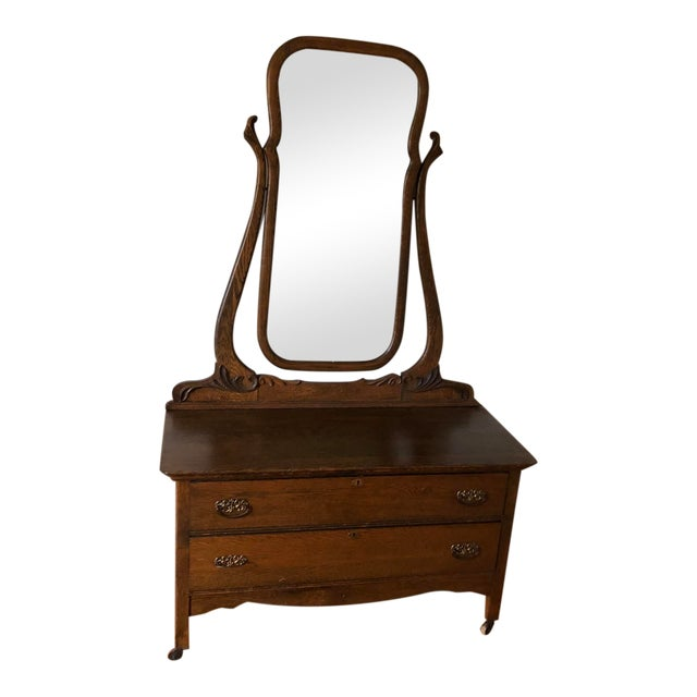 1940s Vintage Vanity With Mirror For Sale