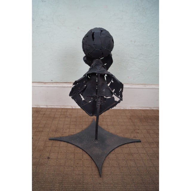 Vintage Metal Abstract Bust Sculpture For Sale - Image 4 of 10