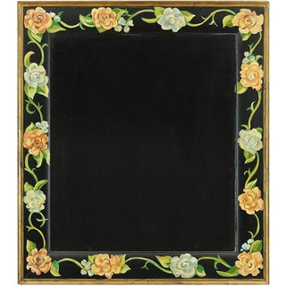 Black Floral Painted Mirror For Sale
