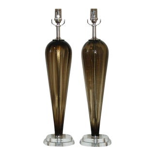 Vintage Murano Glass Teardrop Lamps Bronze For Sale