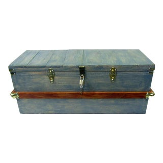 Steamer Trunk in Blue Green Finish For Sale